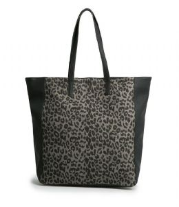 Ex Mango Black Grey Animal Printed Leather Shoulder Handbag Shopper Tote Bag | FD&K